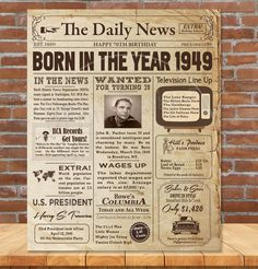 Birthday Signs, Great Birthday Gifts, 70th Birthday, In The Year 2525, Old Newspaper, Handmade Gifts, Projects, Poster, Etsy