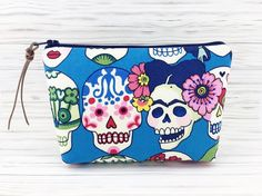 Skull Zipper Pouch Small Cosmetic Bag Accessory by ZestyNotion
