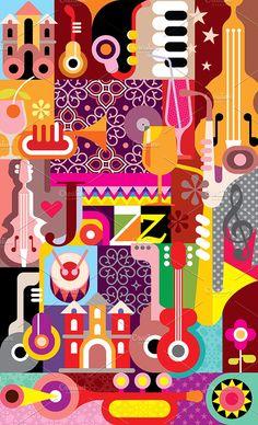 Jazz Festival Poster by danjazzia on Creative Market – Photos Jazz Festival, Festival Posters, Design Festival, Rock Vintage, Jazz Poster, Gig Poster, Music Illustration, Graphic Illustration, Plakat Design