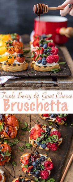 Triple Berry and Goat Cheese Bruschetta