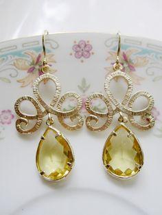 Giallo Topazio orecchini orecchini diadema d'oro di gardendiva