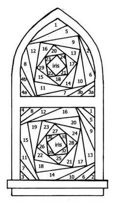 Stained Glass Window Iris Folding Template:
