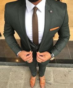 Check out this perfectly tailored custom olive green suit. An amazing combination when paired with brown men's loafers and a white shirt! Have your very own suit custom made from Giorgenti New York! Costume Vert, Mode Costume, Wedding Men, Wedding Suits, Autumn Wedding, Green Wedding Suit, Wedding Summer, Saree Wedding, Mens Fashion Suits