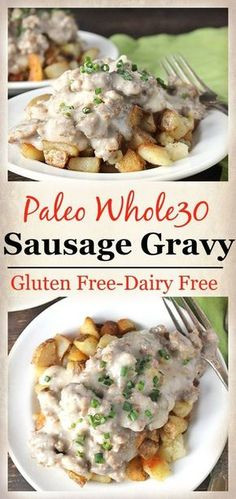 Paleo Whole30 Sausage Gravy- a classic made gluten free, dairy free and healthier! So delicious and packed with flavor! A great egg free option.