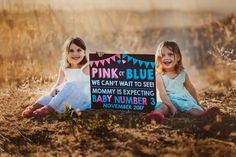 We LOVE this customer photo of pregnancy announcement sign! BABY NUMBER THREE / PINK OR BLUE / GENDER REVEAL / PHOTOGRAPHY / THIRD CHILD / FUN PREGNANCY ANNOUNCEMENT / WE'RE EXPECTING