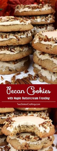 Pecan Cookies with Maple Buttercream Frosting - a delicious homemade cookies chock full of chopped pecans and topped with creamy Maple Buttercream Frosting is a wonderful Fall Cookie idea. This unique and tasty Thanksgiving cookie would be great Thanksgiving dessert idea for a potluck dinner, a fall bake sale or a Christmas Cookie exchange. Pin this delicious cookie recipe for later and follow us for more great Thanksgiving Food ideas.