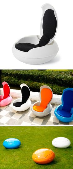 Garden Egg Chair originally designed by Peter Ghyczy in 1968 for both indoor/outdoor use. It's completely waterproof when the top is flipped down. Both the outer shell and the interior are available in a series of colors, allowing for mixing and matching.