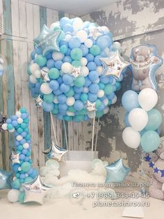 New baby shower party decorations events ideas Birthday Balloon Decorations, Baby Shower Decorations For Boys, Birthday Balloons, Baby Boy Birthday Decoration, Birthday Ideas, Shower Party, Baby Shower Parties, Baby Boy Shower, Deco Originale