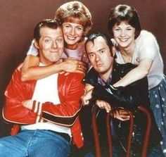 """""""Hell-o-o-o-o"""" Squiggy would ALWAYS say that when he entered Laverne and Shirley's apartment! This is Laverne and Shirley hugging Lenny and Squiggy. THEY WERE A RIOT!!!"""