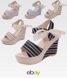 745d4d52d6d Women s Stripe Shoes Sandals Wedge Heels Summer High Platform Open Toe Shoes