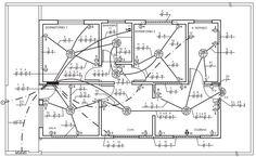 Passar condutores nos eletrodutos Electrical Panel Wiring, Electrical Plan, Electrical Projects, Electrical Installation, Beautiful House Plans, House Wiring, Civil Engineering, Autocad, House Floor Plans