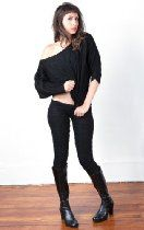 Black Off Shoulder Cocoon Top & Low Rise Yoga & Dance Tights by KD Dance, Matching Stretch Knit Shadow Stripe Set From the Makers of the Finest Knit Dancewear In The World, Fashionably Unique & Sophisticated, Sexy Warm & Cozy, Made in New York City USA