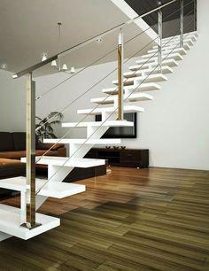 Billedresultat for pinterst escaleras metalicas Home Stairs Design, Railing Design, Interior Stairs, House Design, Steel Stairs, Loft Stairs, House Stairs, Stair Handrail, Staircase Railings