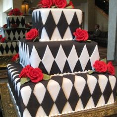 checkerboard wedding cake