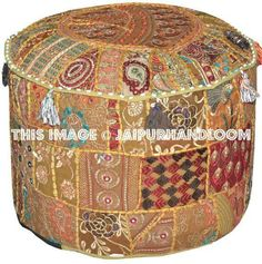 Embroidered Pouffe round cotton stool chair bench foot stool #pouf #ottoman #patchworkpouf #indianpouf #indianottoman #embroideredpouf #handmadepouf #ikeapouf #footstool #chair #beanbag #outdoorfuntiure #patiofurniture #livingroomfurniture #daydogbed #floorcushion #roundpouf #floorpillow Tapestry Bedding, Dorm Tapestry, Wall Tapestries, Tufted Storage Ottoman, Fabric Ottoman, Throw Cushions, Floor Cushions, Bohemian Dorm, Boho