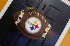 Steelers Burlap door hanger by Cutipiethis on Etsy, $40.00