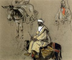 Trois études dont un paysan sur son âne von Edouard Edmond Doigneau