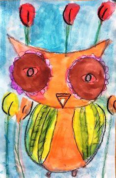 owl,water colors sova, 1.razred