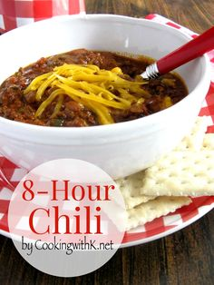 4 Points About Vintage And Standard Elizabethan Cooking Recipes! Kay's Blue Ribbon Crockpot Chili Is A Must Make For Cool, Crisp Fall Days. Slow Cooker Pressure Cooker, Crock Pot Slow Cooker, Slow Cooker Recipes, Crockpot Recipes, Cooking Recipes, What's Cooking, Cooking Chili, Kitchen Recipes, Chili Recipes