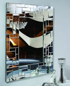 Boyd floor mirror is rectangular with satin black finish beveled