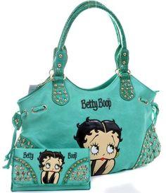 WHOA!!!!!!! Mint Betty Boop Rhinestone Bling Wallet & Handbag Purse Set - Handbags Couture