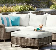 Torrey All-Weather Wicker Sectional Ottoman - Natural | Pottery Barn