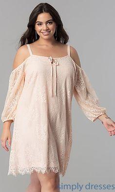 6497da02d164c Off-the-Shoulder Plus-Size Short Lace Party Dress. Plus Formal DressesPlus  ...