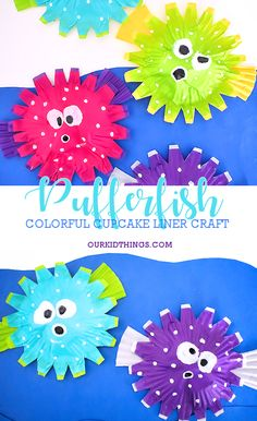 Puffed Up Colorful Cupcake Liner Pufferfish Craft crafts activities for kids Octopus Crafts, Ocean Crafts, Fish Crafts, Rock Crafts, Dinosaur Crafts, Toddler Art, Toddler Crafts, Craft Activities For Kids, Preschool Crafts