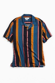 1ed86349cf UO Multicolor-Stripe Rayon Short Sleeve Button-Down Shirt