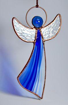Stained glass angel suncatcher, angel gift, Tiffany glass angel, angel ornaments, guardian angel, blue Wedding gift, Happy Birthday gift (scheduled via http://www.tailwindapp.com?utm_source=pinterest&utm_medium=twpin)