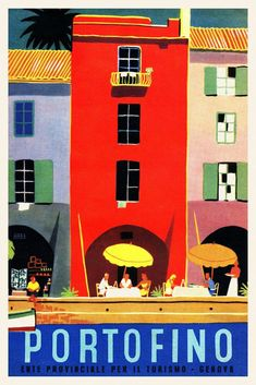 Vintage 1950s Italian Travel Poster PORTOFINO Liguria Retro Riviera Wall Art #vintageposters