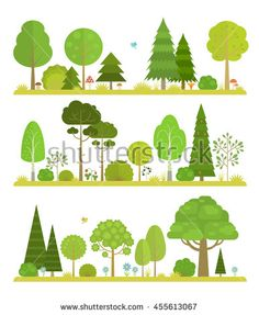 Set of flat forest and park elements, combined in landscapes views.
