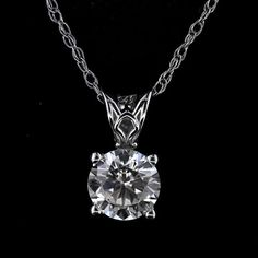 MiaDonna & Company® - Round Scroll Pendant - 1.0ct Round Cut Diamond Hybrid®: 14KW http://miaco.us/roundscrollpendant