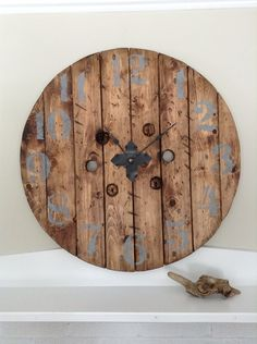 This Large Rustic Clock is made from 100% Reclaimed Wood. Sanded and stained in Special Walnut. The Vintage Style Numbers are hand painted in a