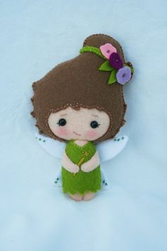 Small handmade wool felt fairy doll by JuneBugDolls on Etsy