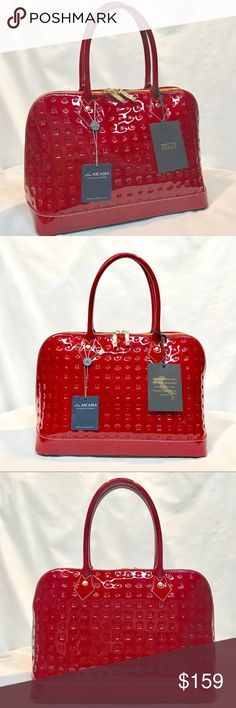 🔥25% off BUNDLES🔥NWT Arcadia bag Gorgeous cherry red embossed genuine  patent leather fcb5641a68