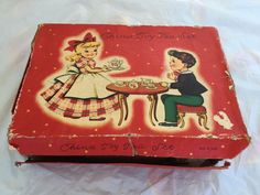 VINTAGE CHILDREN'S TOY TEA SET OF DISHES IN ORIGINAL BOX 15 TOTAL PIECES #UNKNOWN