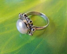 Vintage  sterling  silver  pearl  ring   BellaWorxJewelry - Jewelry on ArtFire