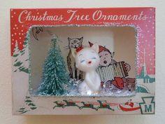 Vintage Christmas Ornament Shadow Box Diorama Cat Figurine | eBay