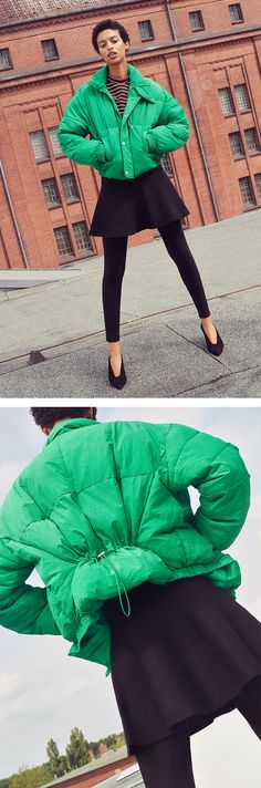 Grün ja grün sind alle meine Jacken: Der urbane Winter-Look spielt mit den Farben des Frühlings. #Daunenjacke #Streetstyle #urbaneMode