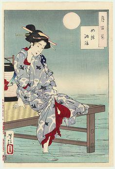 cooling off at shijo / yoshitoshi / 1839 - 1892