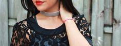 Gray Velvet Choker Necklace Handmade