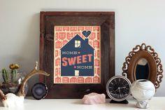 Home Sweet Home 8x10 Handprinted Silkscreen Art Print - Hero Design Studio. $15.00, via Etsy.