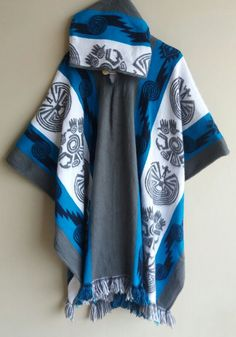 Llama Wool Man Cape Poncho blue Hood Men Coat Jacket Mens - Handmade in Ecuador