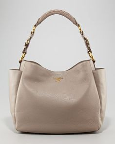 Prada Daino Medium Shoulder Tote Bag Light Gray 91