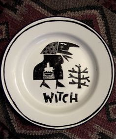 'Witch' by Clive Hicks-Jenkins from the 'Hansel & Gretel' series. (Enamelware plate decorated with ceramic ink)
