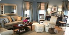 Great example of a formal living room. Love the paint color. #livingroom #blue