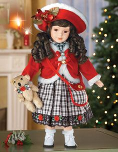 """16"""" Emma Collectible Porcelain Holiday Doll"""