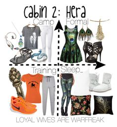 """Cabin 2: Hera"" by aquatic-angel ❤ liked on Polyvore featuring Lalique, Michael Antonio, Frame Denim, Uzura, BCBGeneration, Lord & Taylor, NIKE, ATM by Anthony Thomas Melillo, UGG Australia and Pillow Decor"