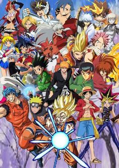 Another Anime collab picture showing off all the main protagonists of each series, even most based on Shonen Jump but some based off other anime. Anime and Shonen Jump Protagonists Otaku Anime, Anime Naruto, Manga Anime, Anime Crossover, Recent Anime, Anime Plus, All Anime Characters, Horror, Popular Anime